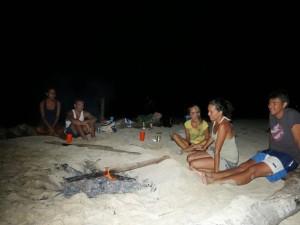sailing remote islands beach bonfire
