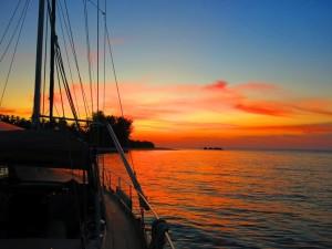kudat sailing living aboard sunset