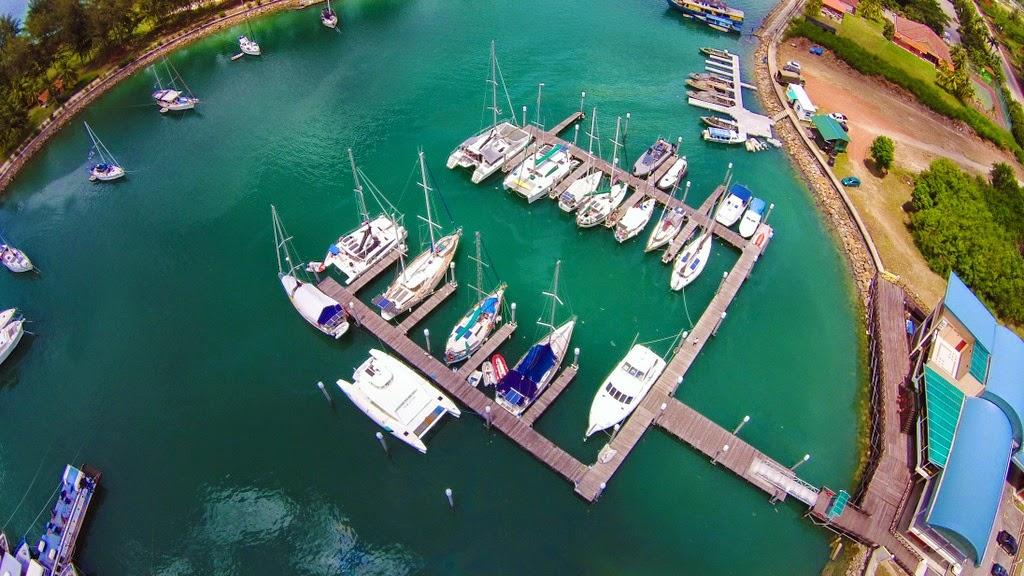 sailing vlog drone shot marina