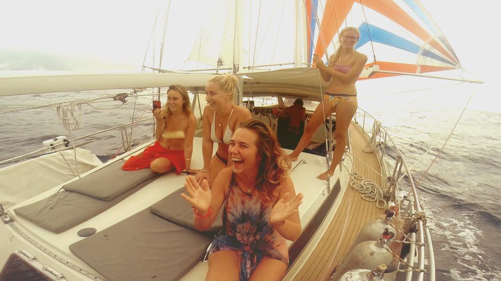 catching fish deep sea sailboat