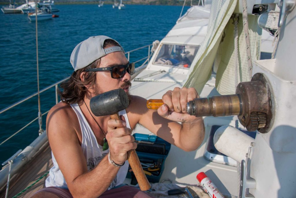 repairing seized winch sailboat maintenance