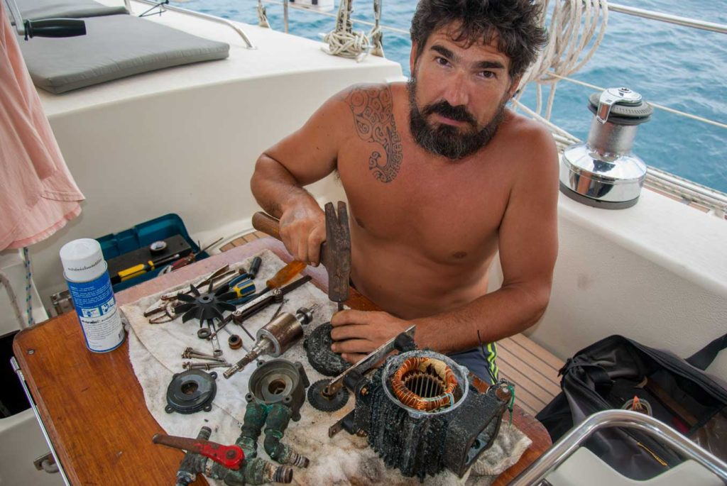 repairing water maker pump sailboat maintenance