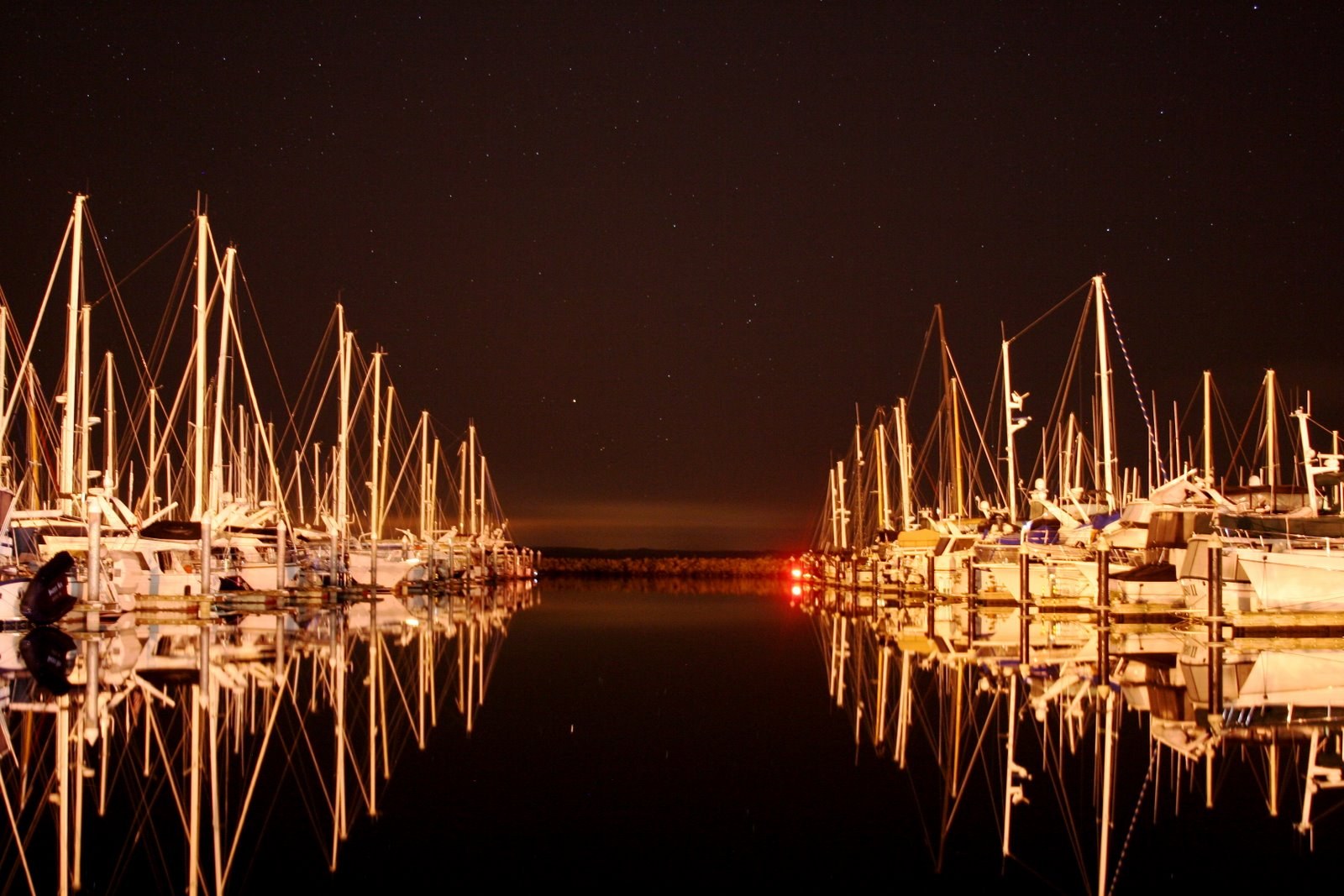 shilshole bay marina at night