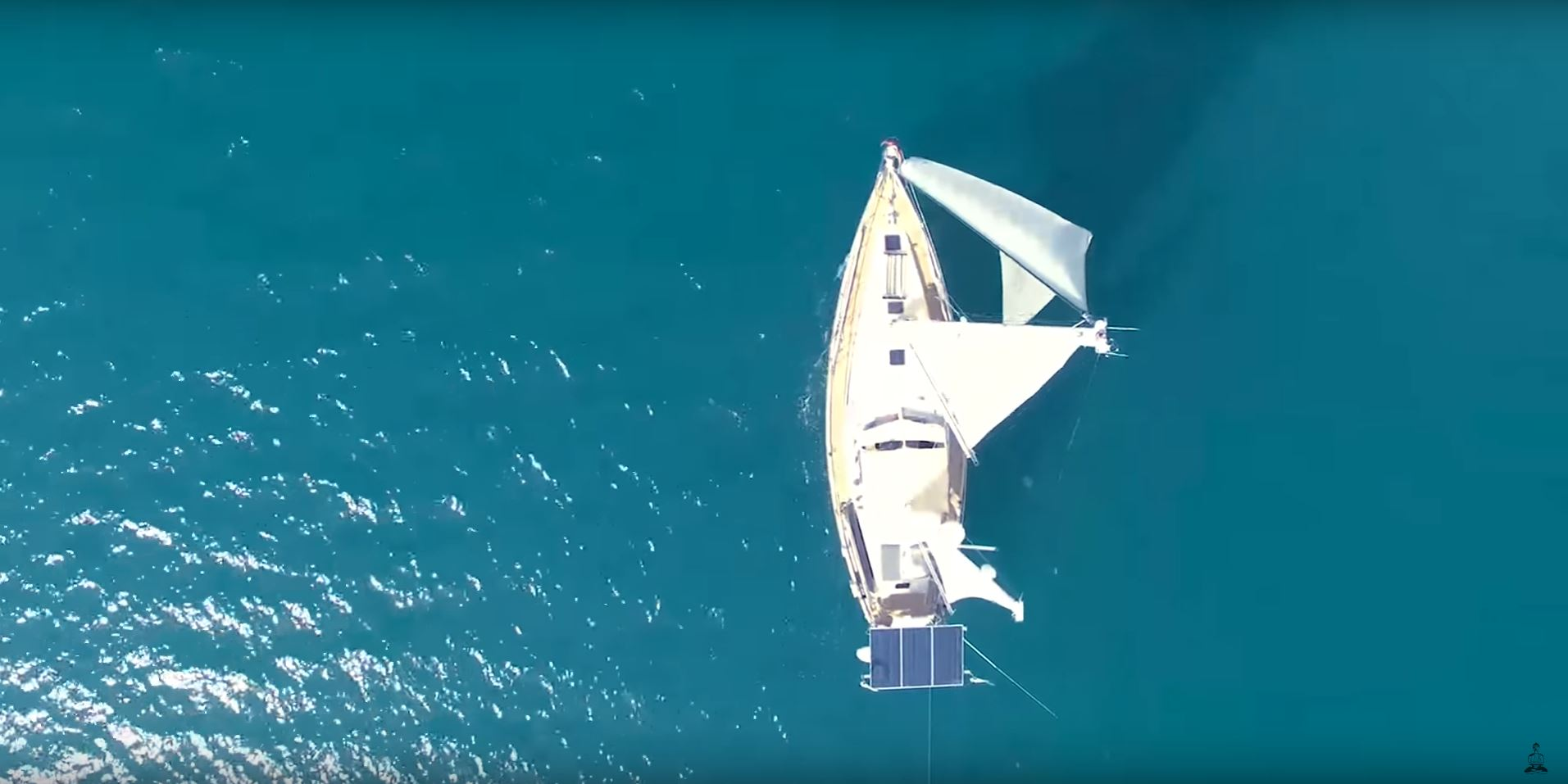 overhead shot of yacht on indian ocean