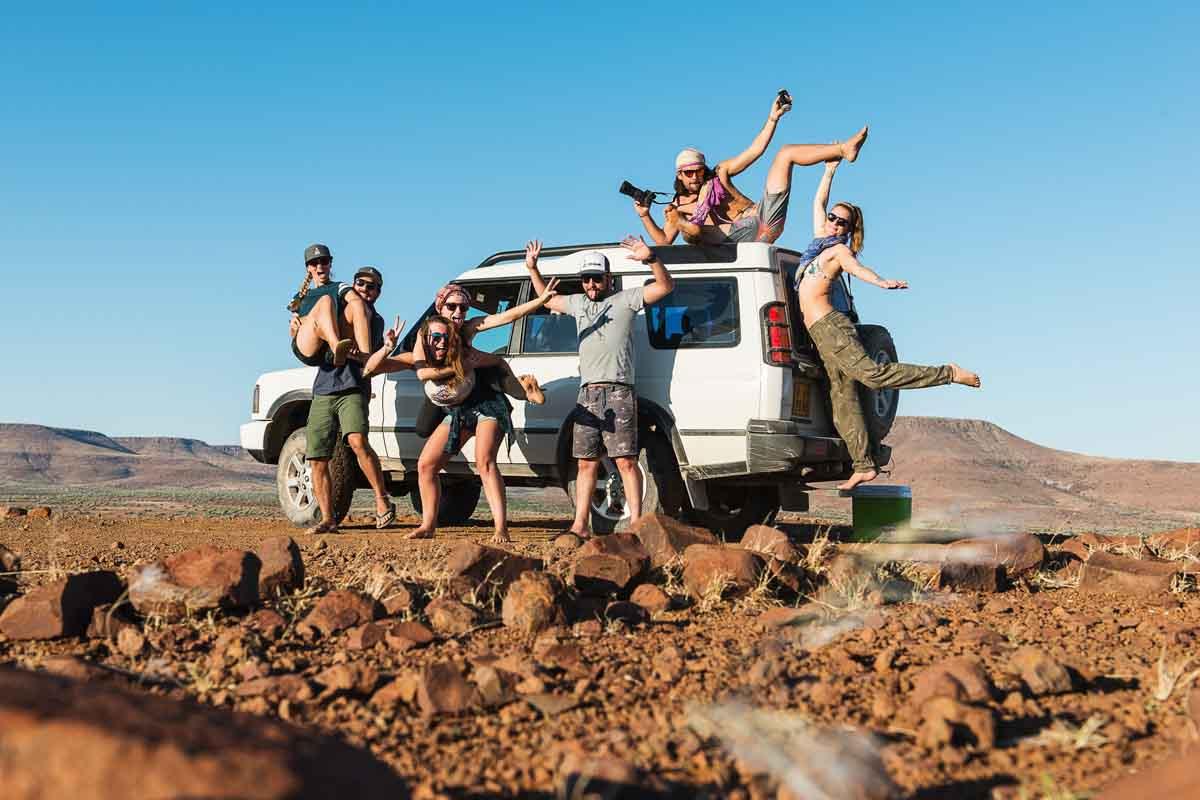 us exploring namibian desert