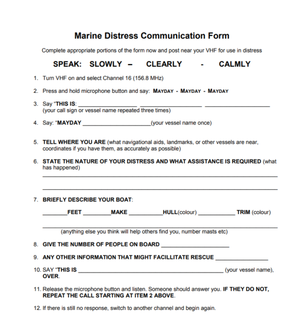 marine distress call script